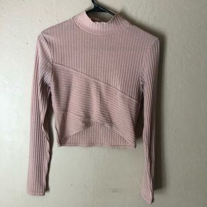Boohoo Baby Pink Sweater Crop Top